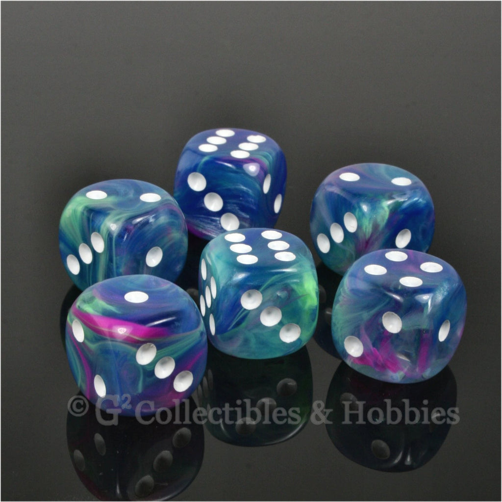 D6 16mm Festive Waterlily with White Pips 6pc Dice Set