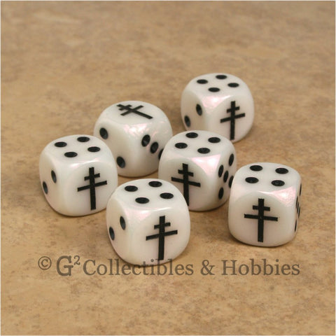 Axis & Allies 6pc Dice Set - Free French Cross of Lorraine