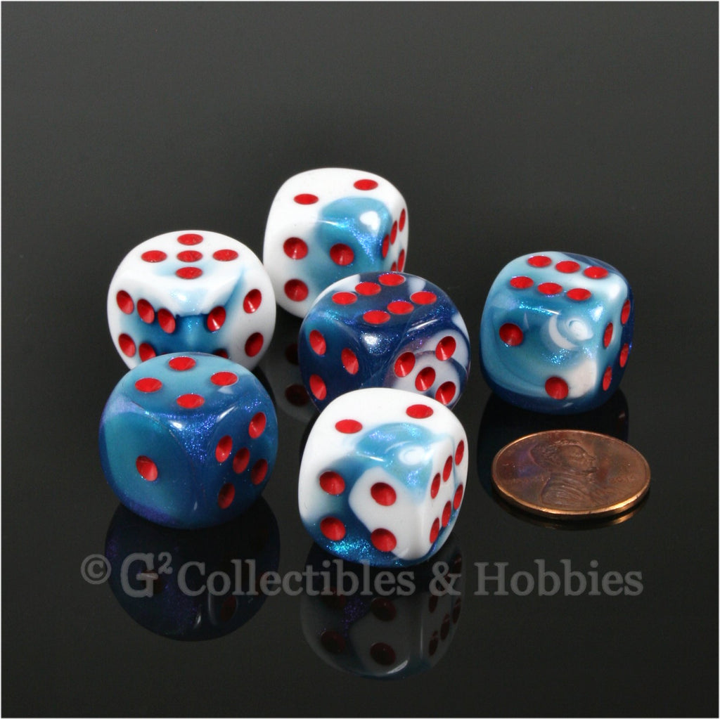 D6 16mm Gemini Astral Blue-White with Red Pips 6pc Dice Set