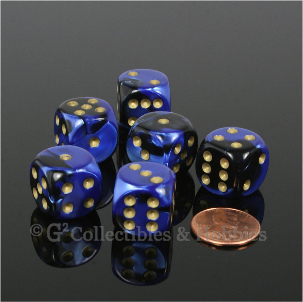 D6 16mm Gemini Black Blue with Gold Pips 6pc Dice Set