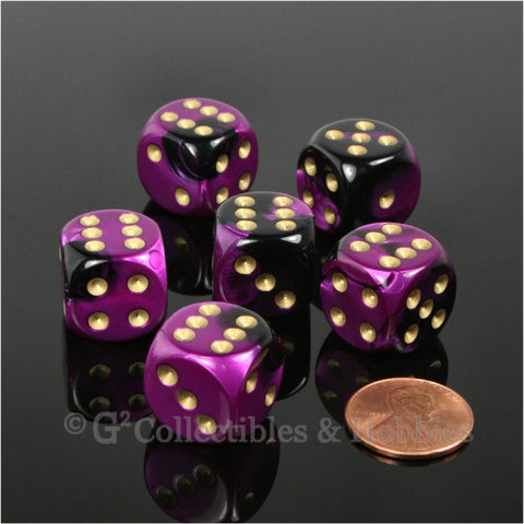 D6 16mm Gemini Black/Purple with Gold Pips 6pc Dice Set