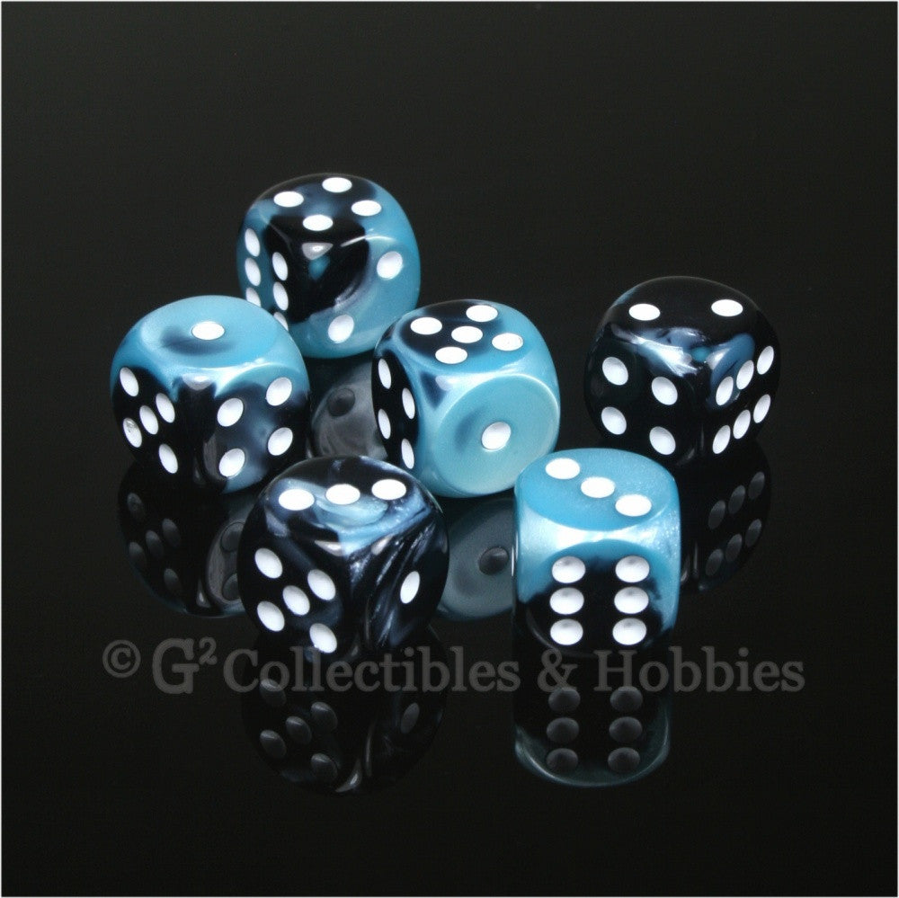 D6 16mm Gemini Black/Shell Blue with White Pips 6pc Dice Set