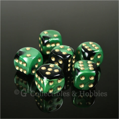 D6 16mm Gemini Black/Green with Gold Pips 6pc Dice Set