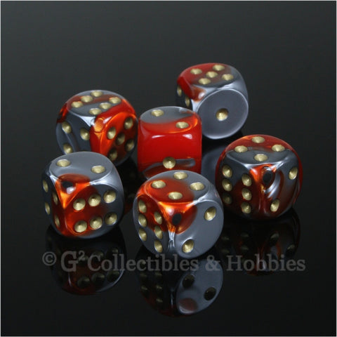 D6 16mm Gemini Orange/Steel Gray with Gold Pips 6pc Dice Set