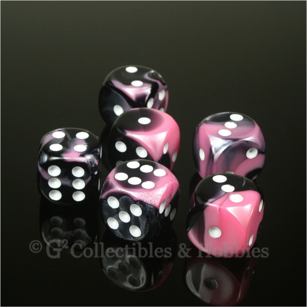 D6 16mm Gemini Black/Pink with White Pips 6pc Dice Set