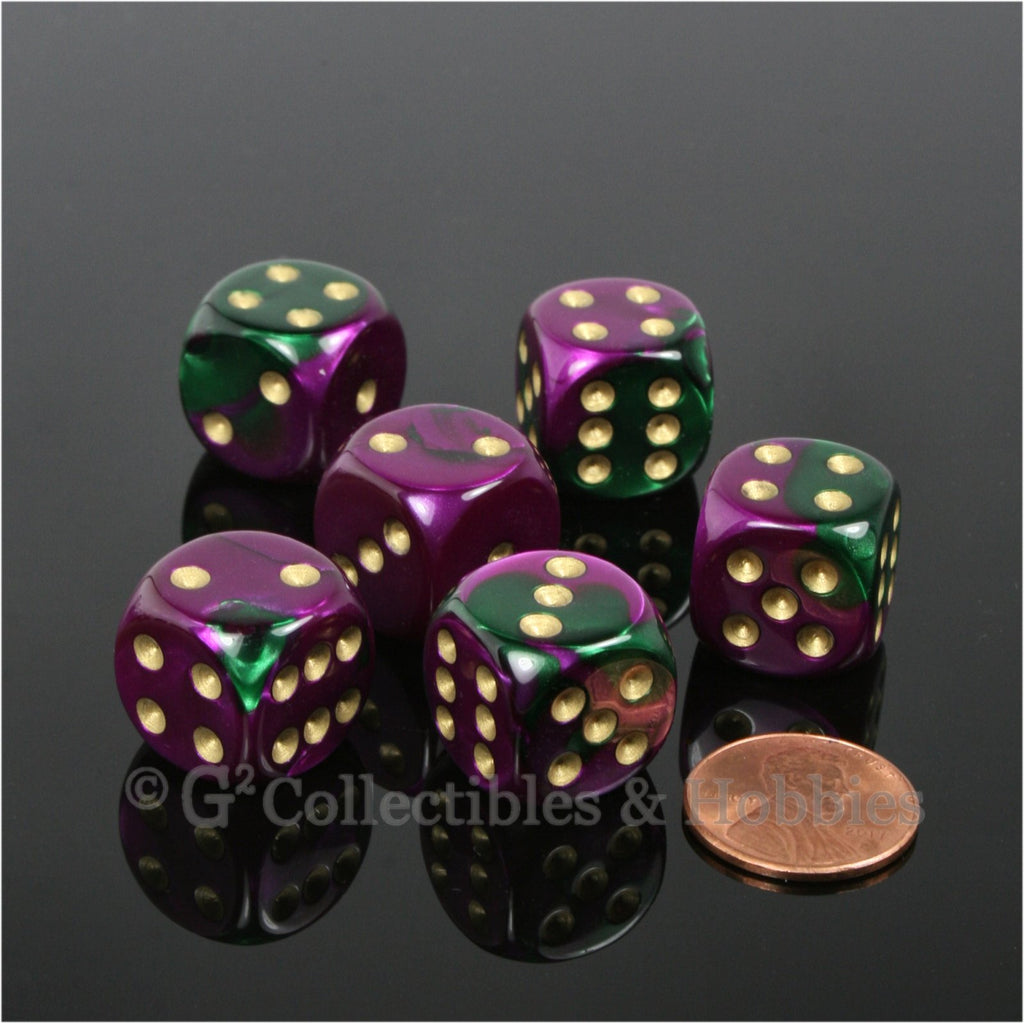 D6 16mm Gemini Green/Purple with Gold Pips 6pc Dice Set