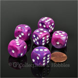 D6 16mm Festive Violet with White Pips 6pc Dice Set