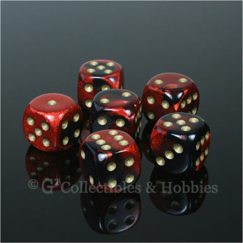 D6 16mm Gemini Black/Red with Gold Pips 6pc Dice Set