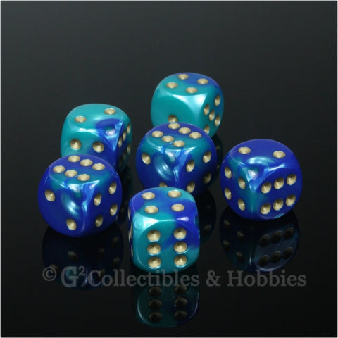 D6 16mm Gemini Blue/Teal with Gold Pips 6pc Dice Set