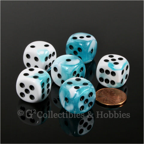 D6 16mm Gemini Teal-White with Black Pips 6pc Dice Set