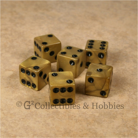 D6 16mm Pearlized Olympic Gold 6pc Dice Set