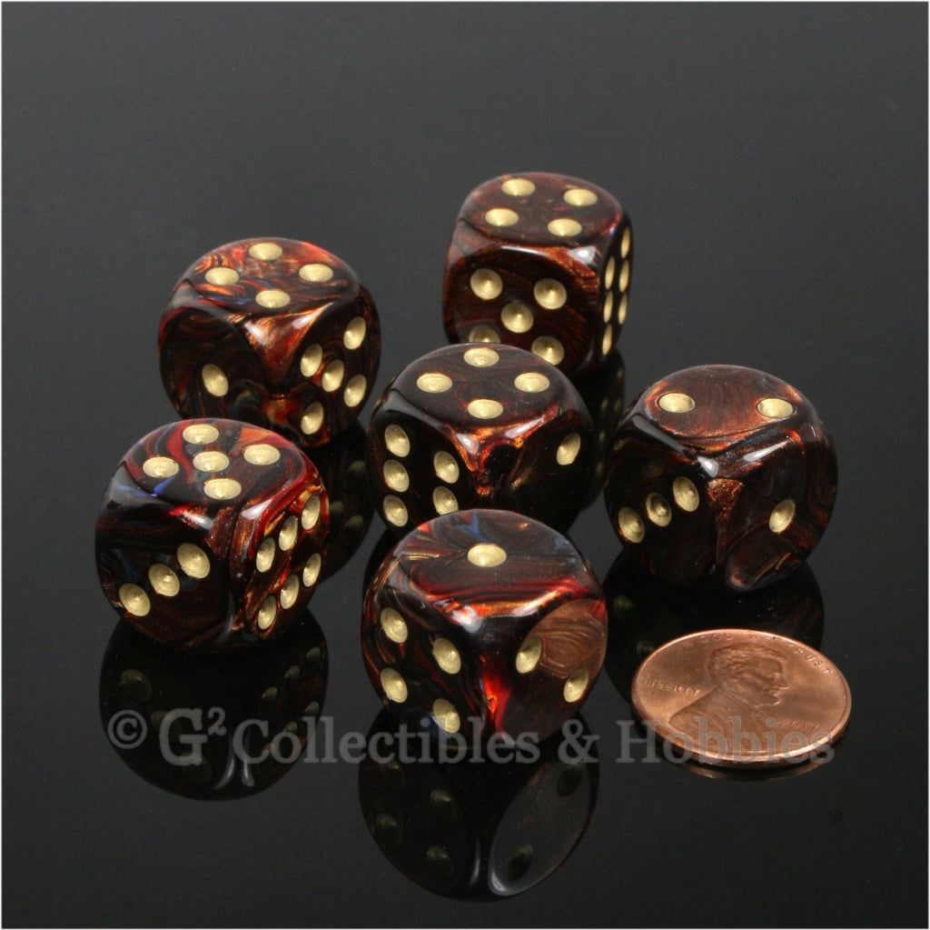 D6 16mm Scarab Blue Blood with Gold Pips 6pc Dice Set