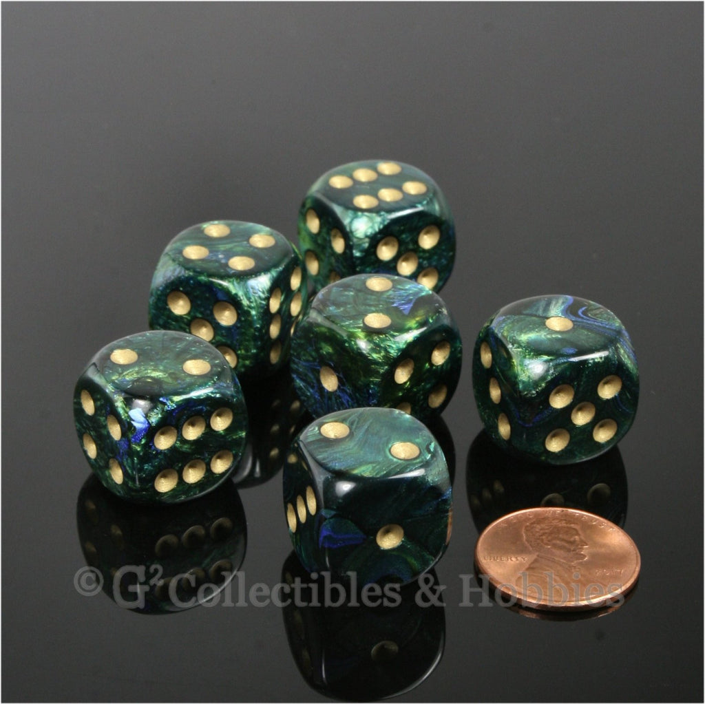 D6 16mm Scarab Jade Green with Gold Pips 6pc Dice Set