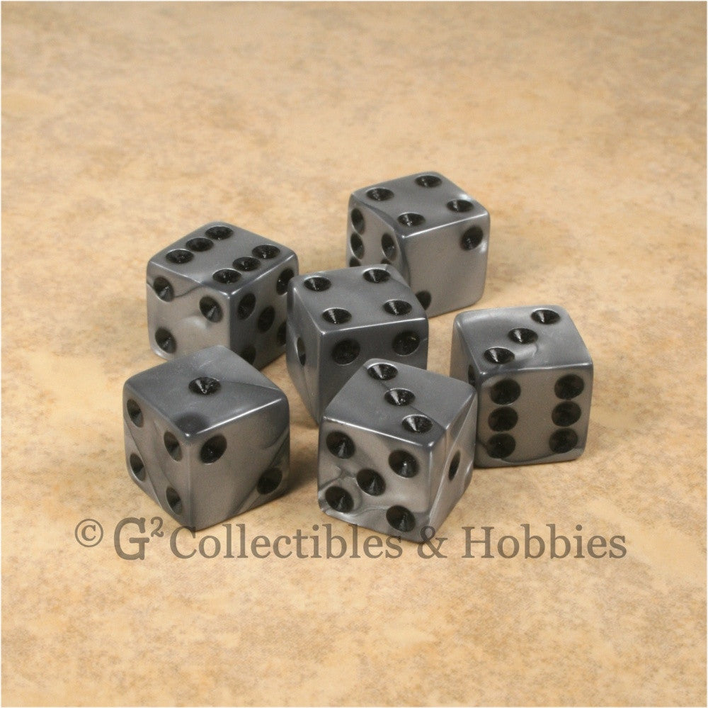 D6 16mm Pearlized Olympic Silver 6pc Dice Set