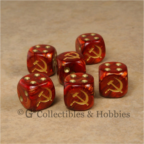 WWII Axis & Allies 6pc Dice Set - Soviet Russia Hammer & Sickle