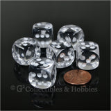 D6 16mm Rounded Edge 6pc Dice Set - Transparent Clear with White Pips