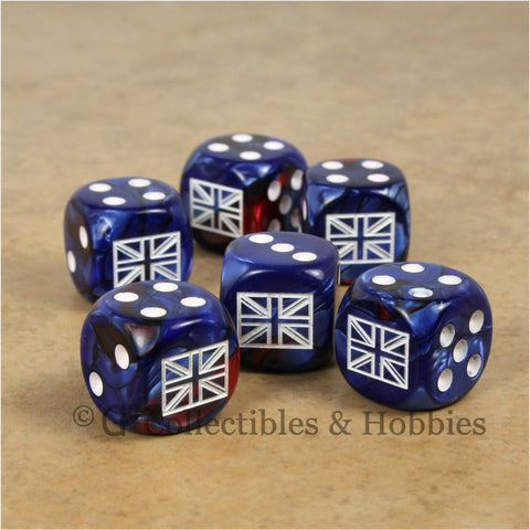 WWII Axis & Allies 6pc Dice Set - British Union Jack (Blue Gemini w/some Red)