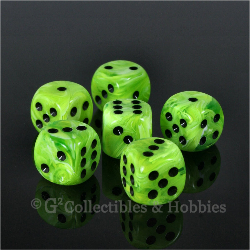 D6 16mm Vortex Bright Green 6pc Dice Set