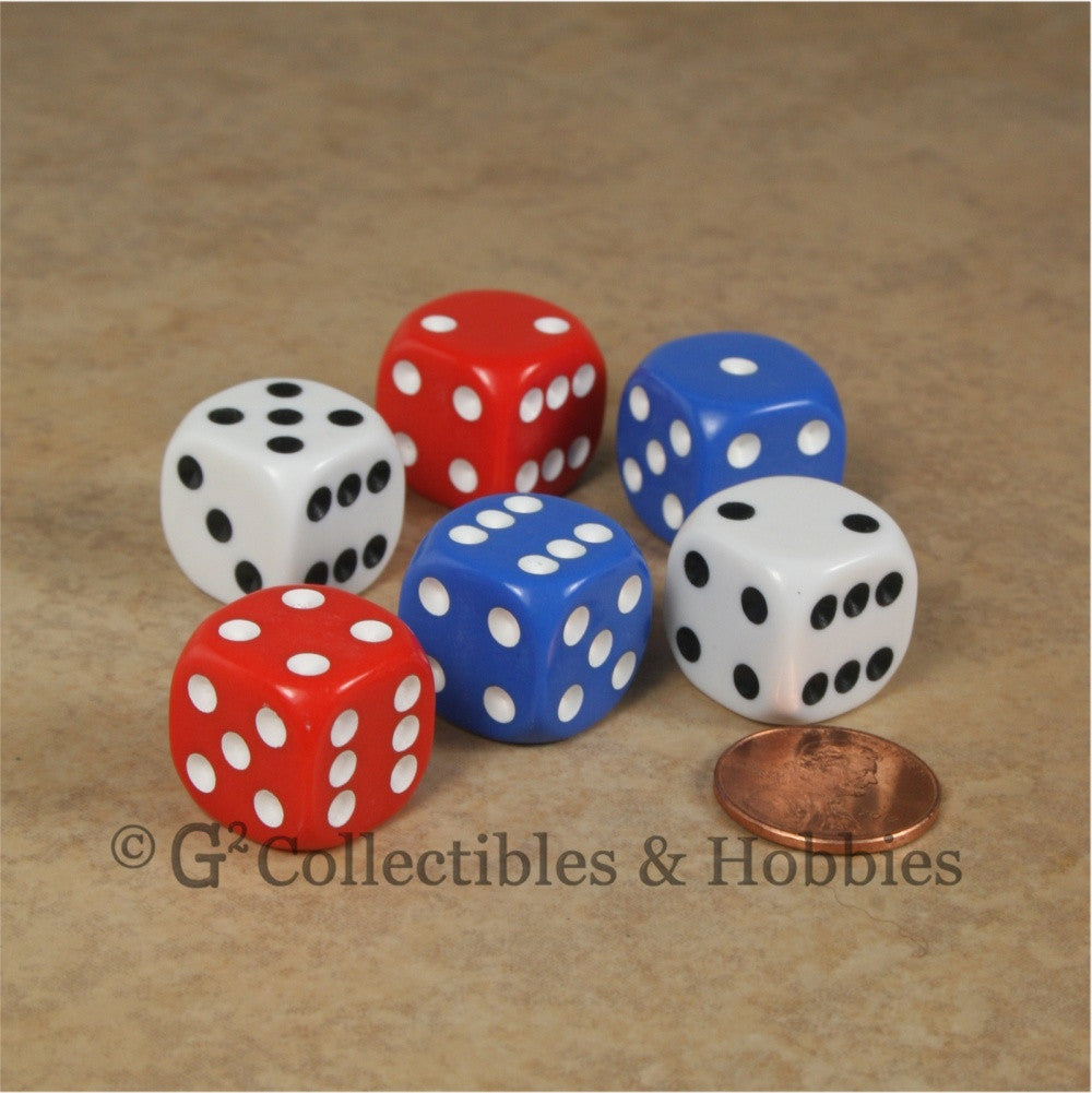 D6 16mm Rounded Edge 6pc Dice Set - Red White Blue