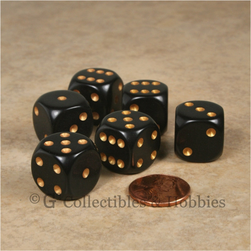 D6 16mm Rounded Edge Black with Gold Pips 6pc Dice Set
