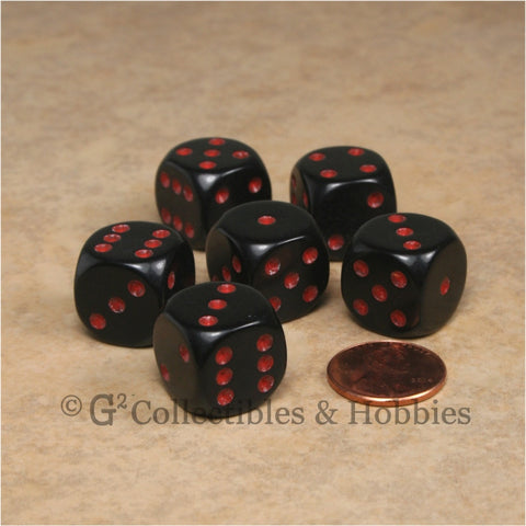 D6 16mm Rounded Edge Black with Red Pips 6pc Dice Set