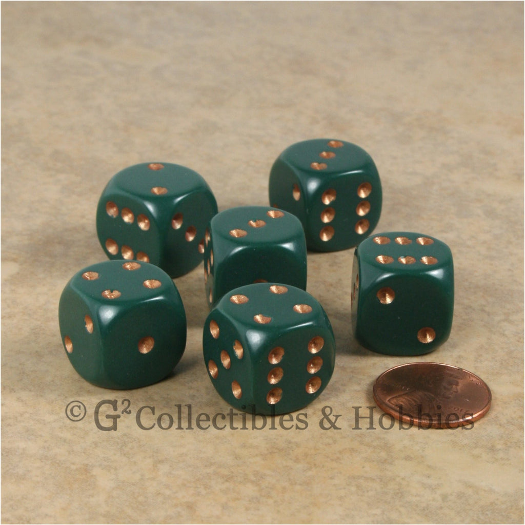 D6 16mm Rounded Edge Dusty Green with Copper Pips 6pc Dice Set