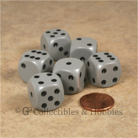 D6 16mm Rounded Edge Gray with Black Pips 6pc Dice Set