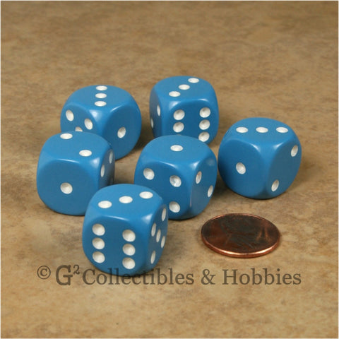 D6 16mm Rounded Edge Light Blue with White Pips 6pc Dice Set