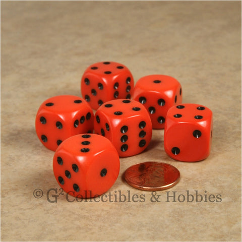 D6 16mm Rounded Edge Orange with Black Pips 6pc Dice Set