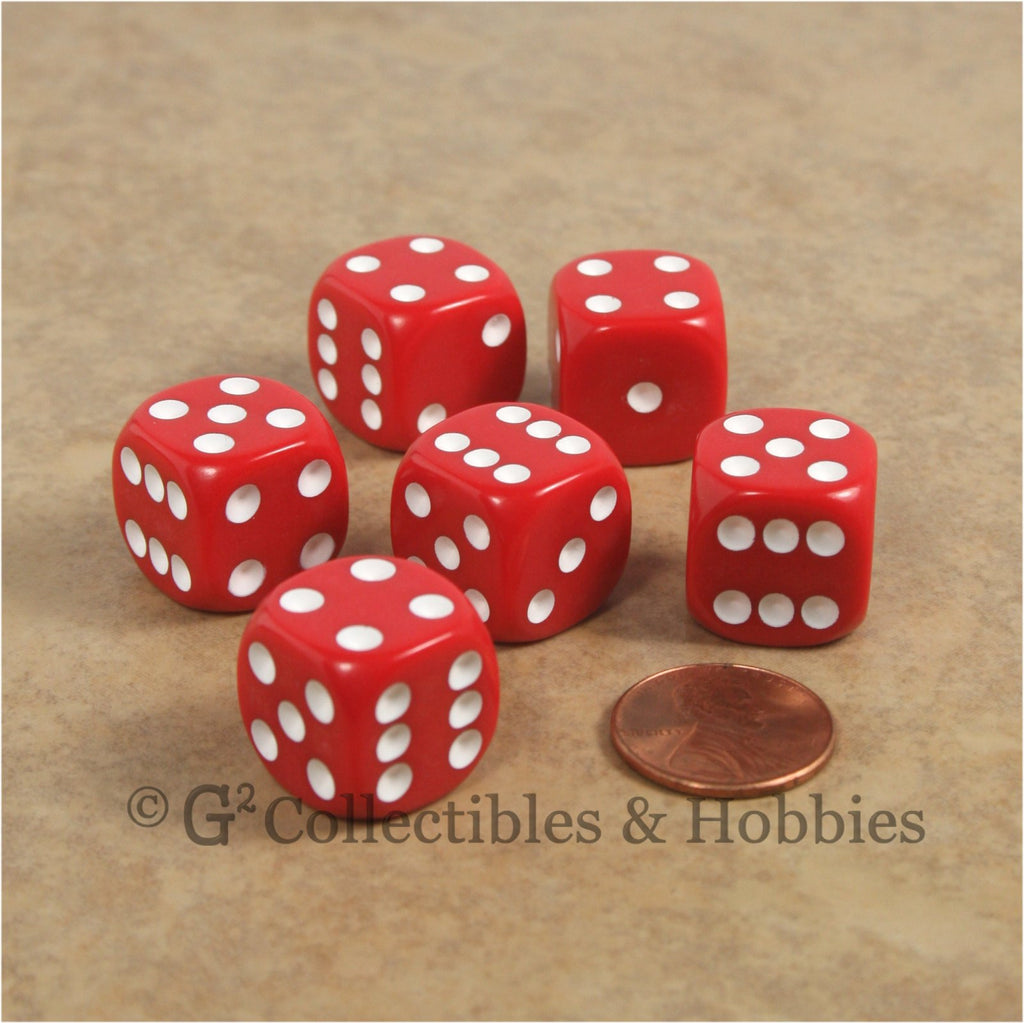 D6 16mm Rounded Edge Red with White Pips 6pc Dice Set