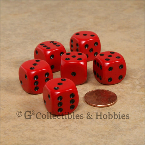 D6 16mm Rounded Edge Red with Black Pips 6pc Dice Set