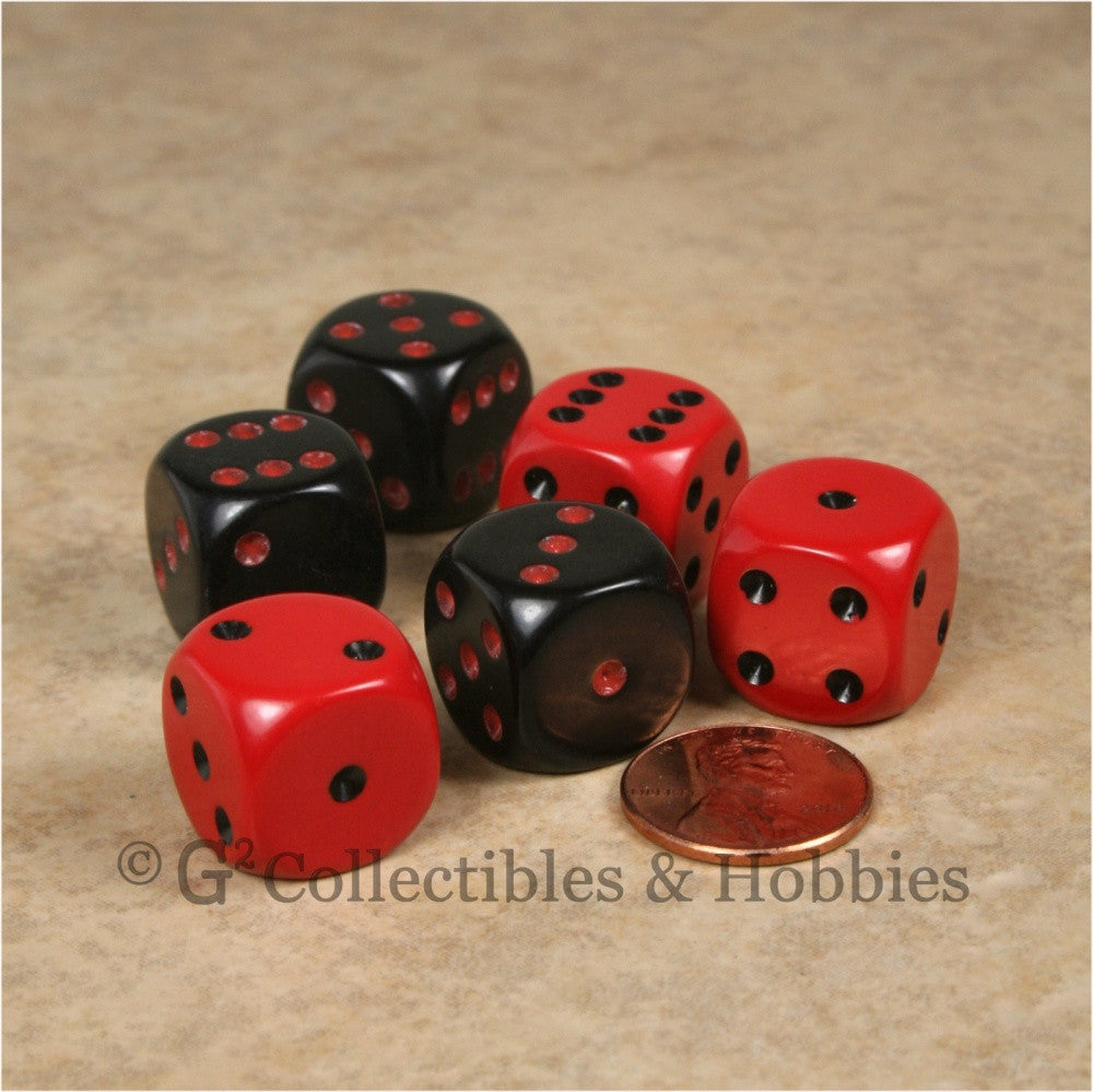 D6 16mm Rounded Edge 6pc Dice Set - Red & Black