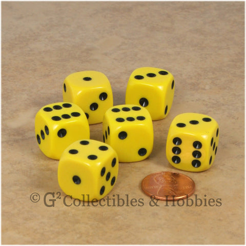 D6 16mm Rounded Edge Yellow with Black Pips 6pc Dice Set