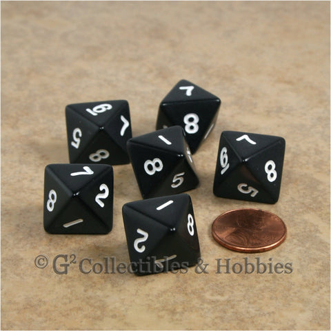 D8 RPG Dice Set : Opaque 6pc - Black