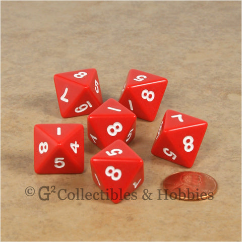 D8 RPG Dice Set : Opaque 6pc - Red