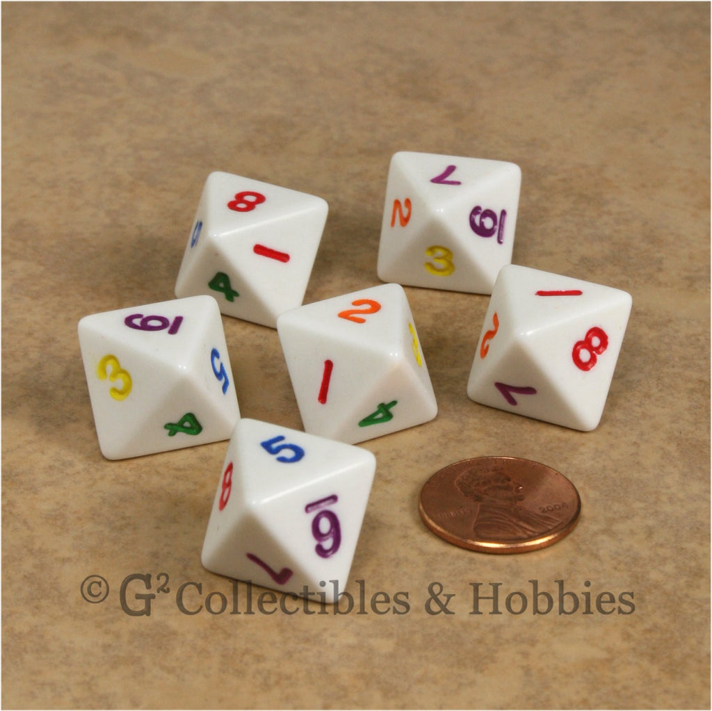 D8 RPG Dice Set : Opaque 6pc - White with Multi-Colored Numbers