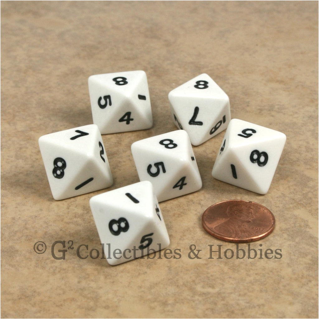 D8 RPG Dice Set : Opaque 6pc - White