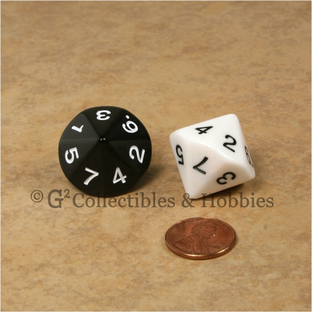 14 Sided D7 1 to 7 Twice 20mm Dice Pair - Black & White