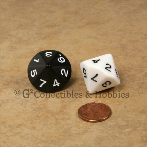 14 Sided D7 1 to 7 Twice Large 20mm Dice Pair - Black & White