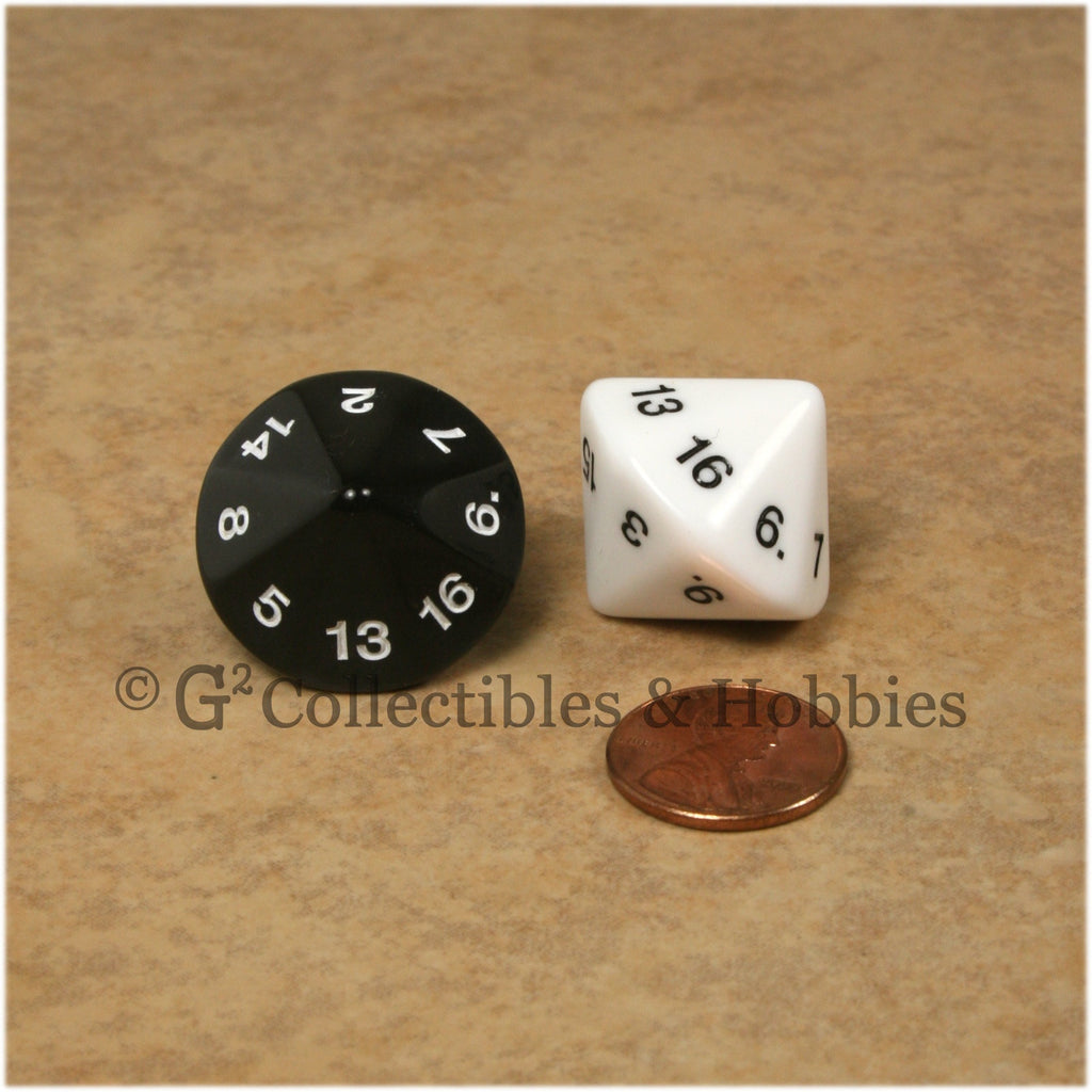 D16 20mm 16 Sided Dice Pair - Black & White