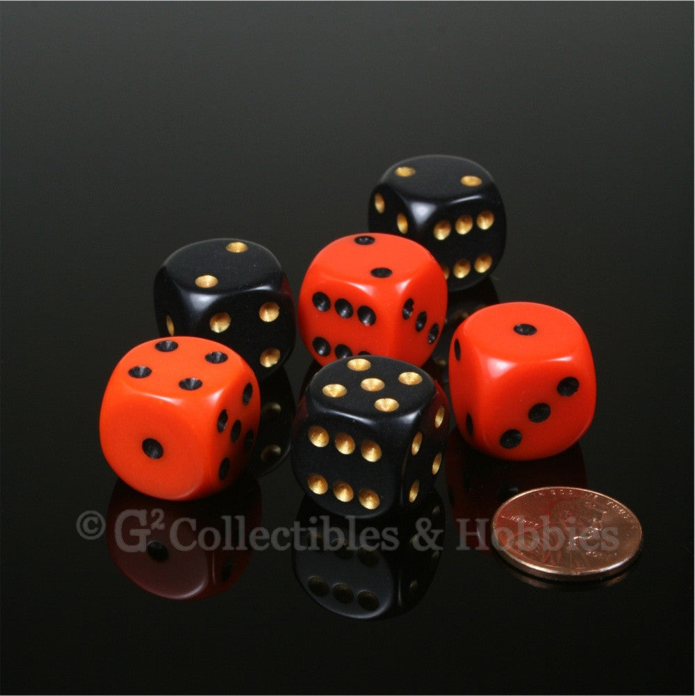 D6 16mm Rounded Edge 6pc Dice Set - Orange & Black