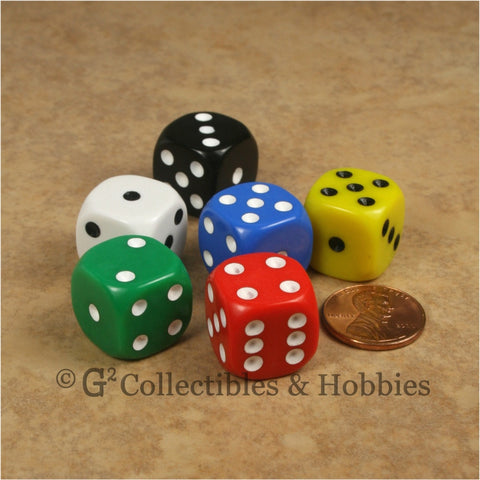 D6 16mm Rounded Edge 6pc Dice Set - 6 Colors