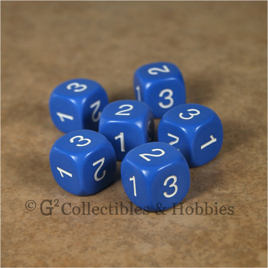 D3 (6 Sided) RPG Dice Set 6pc - Blue