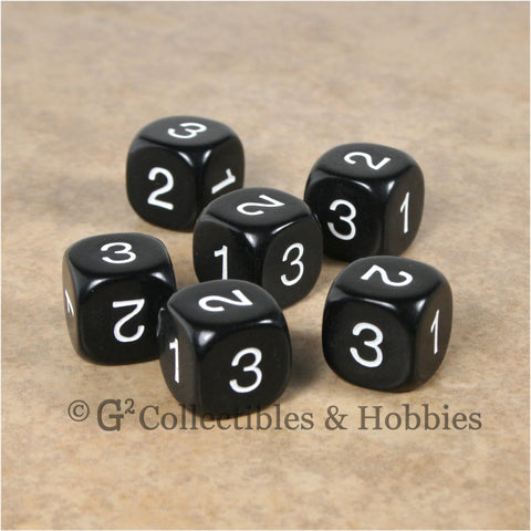 D3 (6 Sided) RPG Dice Set 6pc - Black