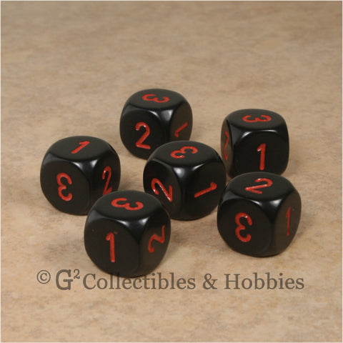 D3 (6 Sided) RPG Dice Set 6pc - Black with Red Numbers