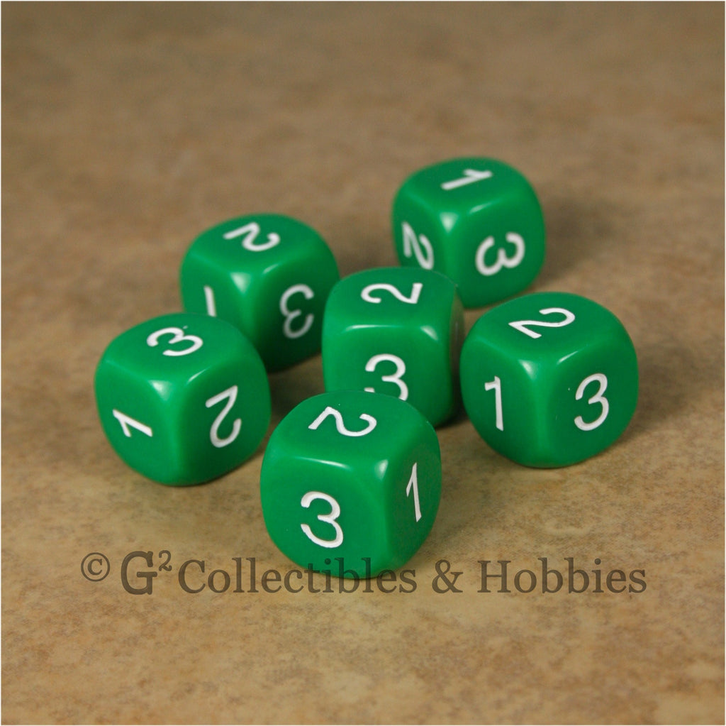 D3 (6 Sided) RPG Dice Set 6pc - Green
