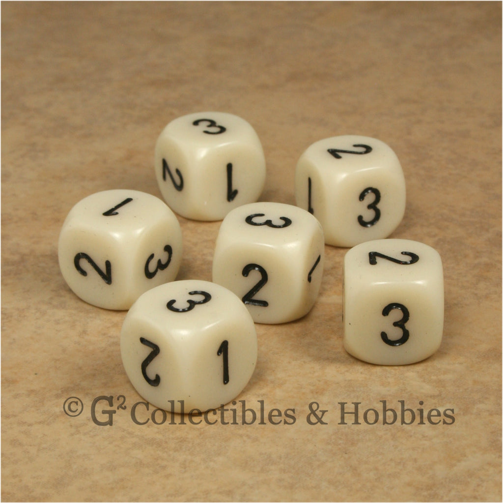 D3 (6 Sided) RPG Dice Set 6pc - Ivory