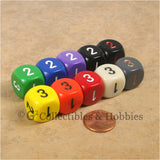 D3 (6 Sided) RPG Dice Set 10pc - 10 Colors