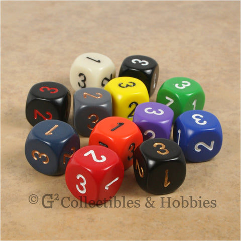 D3 (6 Sided) RPG Dice Set 12pc - 12 Colors