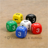 D3 (6 Sided) RPG Dice Set 6pc - 6 Colors